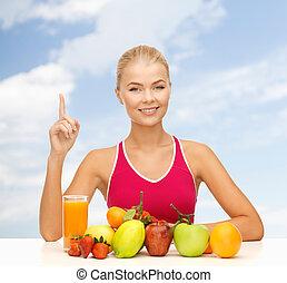 femme, haut, jus, doigt, tenue, fruits