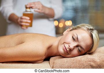 femme, haut, mensonge, spa, fin, table, masage