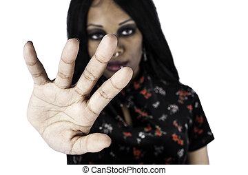 femme, haut, tenant main