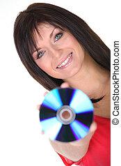 femme, haut, tenue, cd