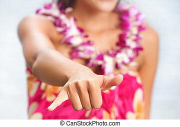 femme, hawaien, hawaï, main, shaka, confection, signe, plage