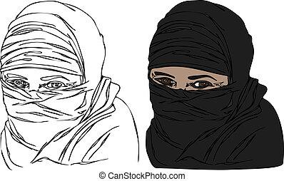 femme, headscarf, vecteur, voile