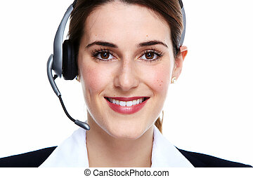 femme, headsets., business