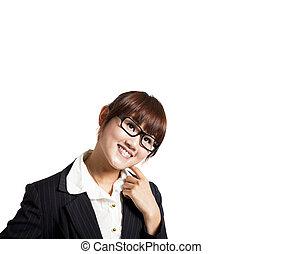 femme heureuse, affaires asiatiques, jeune