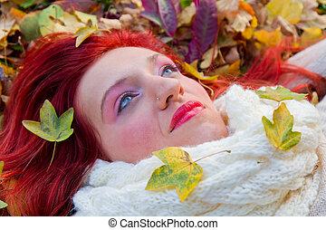 femme heureuse, automne, ensoleillé, day., parc, jeune