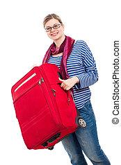 femme heureuse, bagage