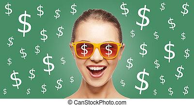 femme heureuse, dans, nuances, à, dollar, monnaie, chante
