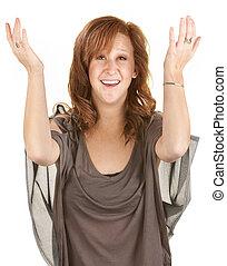 femme heureuse, haut, bras