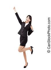 femme heureuse, jeune, business, asiatique
