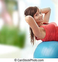 femme heureuse, jeune, exercice, fitness