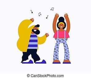 femme heureuse, jeune homme, danse