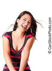femme heureuse, jeune, rire