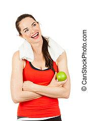femme heureuse, pomme, tenue, jeune