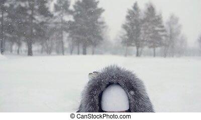 femme heureuse, promenades, hiver, parc, séance, snowdrift., gai