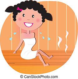 femme heureuse, sauna
