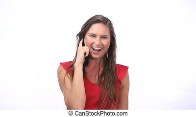 femme, heureux, appeler
