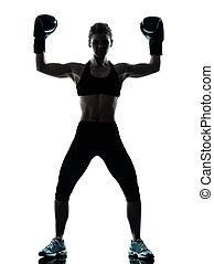 femme, heureux, boxeur, exercisme