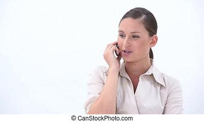 femme, heureux, business, appeler