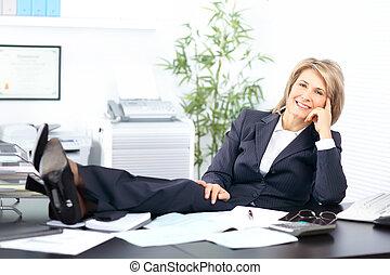 femme, heureux, business