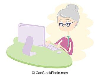 femme, heureux, computer., vieux, utilisation