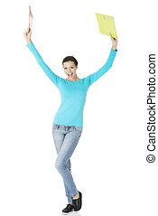 femme, heureux, gestur, étudiant, projection, gagner