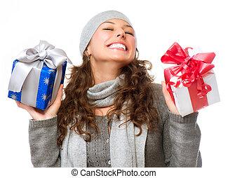femme, heureux, jeune, gifts., noël don, boîte