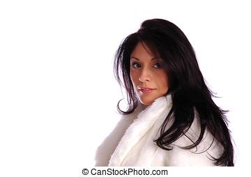 femme hispanique, dans, blanc, veste