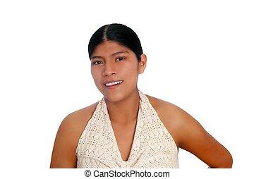 femme hispanique, maya, latin, portrait