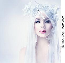 femme, hiver, beauté, longs cheveux, portrait, blanc