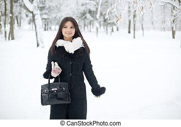 femme, hiver, beauté