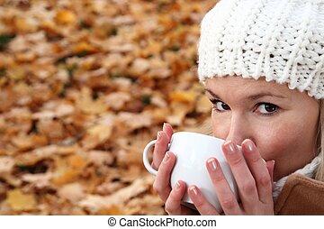 femme, hiver, boisson, automne, chaud, boire, ou
