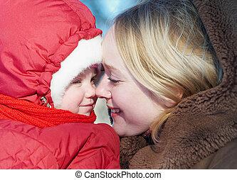 femme, hiver, enfant
