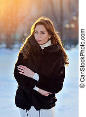 femme, hiver