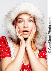 femme, hiver, jeune, -, mignon, stupéfié, surprise