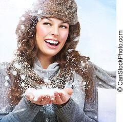femme, hiver, neige, girl., souffler, noël