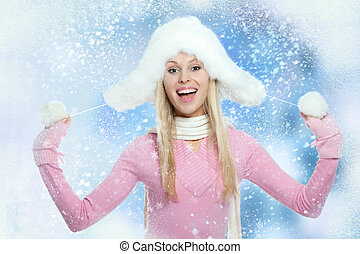 femme, hiver, noël