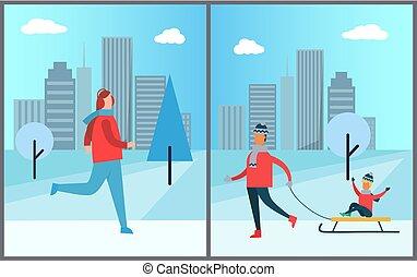femme, hiver, parc, père, jogging, enfant porte