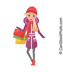 femme, hiver, pourpre, manteau, mains, paquets