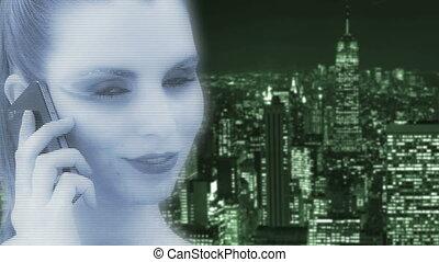 femme, hologramme