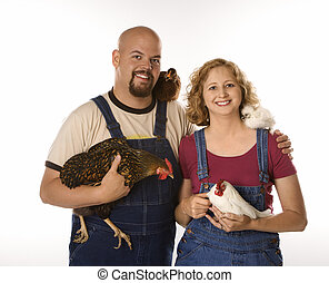 femme homme, à, chickens.