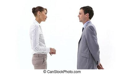 femme homme, business, parler