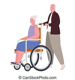 femme, homme, fauteuil roulant, vieux
