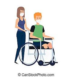 femme homme, figure, utilisation, masque, fauteuil roulant