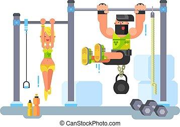 femme, homme, fitness