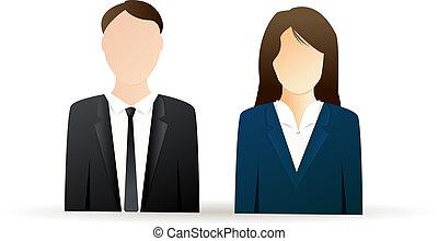 femme homme, icones affaires