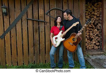 femme homme, mûrir, musiciens