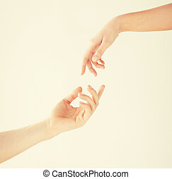 femme, homme, mains