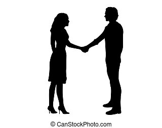 femme homme, relation, silhouettes affaires