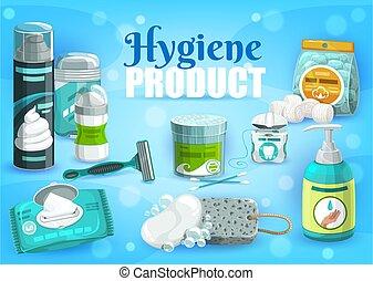 femme, homme, soin, hygiène personnelle, produits