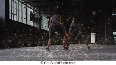 femme, homme, sur, basket-ball, jouer, brillant, animation, points, flotter